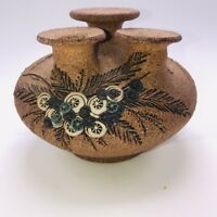 Carma Studio Pottery Weed Pot Oil Lamp Handmade signed and dated 1985