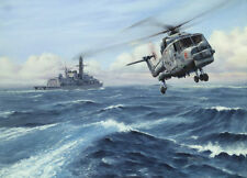 "Westland Lynx Helicopter Painting Art Print - HMS Iron Duke - 14"" Print"