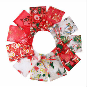 10-100pcs Luxury Christmas Organza Wedding Favour Party Gift Candy Bags Pouch UK