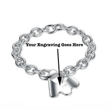 Chunky Silver Plated Bracelet with Dog Pendant Charm with Free Engraving