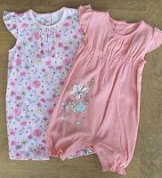 Ex Store Baby Girls 2 Pack Summer Short Sleeve Romper Suit Newborn 3 6 9M NEW