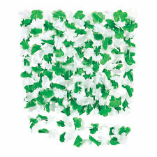 Green & White Hawaiian Flower Polyester Leis - 12 Pc.