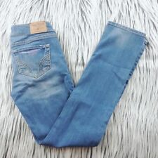 Hollister Women's Jeans - Straight Leg - Distressed - Embroidered -  Size 1S