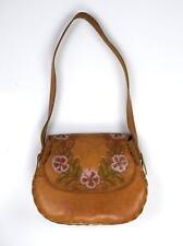 Vtg Brown Floral Tooled Painted Leather LINDA Western Shoulder Bag Purse Satchel