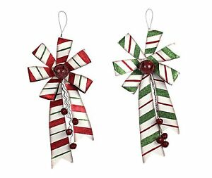 Metal Christmas Holiday Bows with Bell Door Hanging Holiday Decoration Set of 2