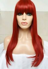 Red Human Hair Blend Wig Long Fringe Classic Cap Full Wig