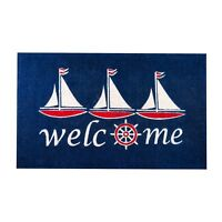 Nautical Sailboat Thick Coco Entrance Door Mat / Welcome Doormat 36 x 48 Inches