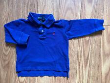 Polo Ralph Lauren Toddler Boy Blue Long Sleeve Polo Shirt 2T Euc!