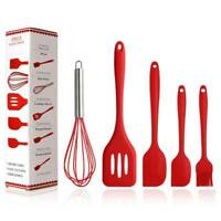 5Pc Kitchen Silicone Cooking Utensils Set Non-stick Spatula Turner Gadget S New