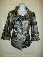 NWT NEW Chicos  Jacket  Coat TOP Shirt SIZE 1 LINED SNAP FRONT FLORAL WATERPROOF