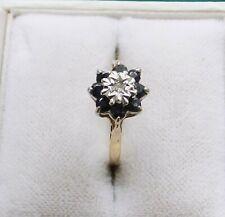 9 Carat Gold Hallmarked Sapphire & Diamonds Cluster Ring - Size L