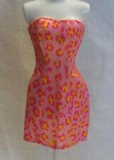 Barbie Doll Clothes Clothing Pink & Yellow Animal Print Sleeveless Dress L729