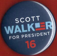 "2016 Scott Walker 2 1/4"" / (R)Presidential Hopeful Campaign Button (Pin 01)"