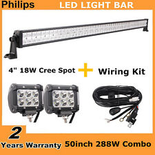 "50""inch 288W LED Light Bar OffRoad Combo RZR Boat+Wiring Kit+2X 4""18W Pods Lamp"