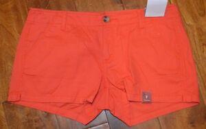 Women's Arizona Tiger Lily Orange Soft Cord Wash Shorties Juniors Shorts 0-17
