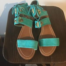 Twelfth Street by Cynthia Vincent Sophia Teal Blue Green Suede Sandals Size 7