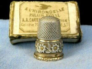 FRENCH ANTIQUE GOLD & SILVER SEWING THIMBLE AA CARETTE PALAIS ROYAL PARIS BOXED