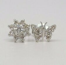 Womens Diamond Cluster Flower & Butterfly Stud Earrings 14K White Gold