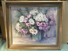 Jean M Cumming Chrysanthemums Framed Oil Painting