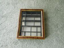 WOODEN WALL MOUNTED TRINKET CURIO DISPLAY CABINET Glass Panel Mirrored Interior