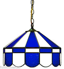 "BLUE & WHITE 16"" STAINED GLASS LIGHT PUB FIXTURE HANGING BAR GAME TABLE LAMP"