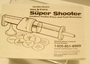 Hamilton Beach Use & Care Manual for Super Shooter 80000 Cordless Cookie Press