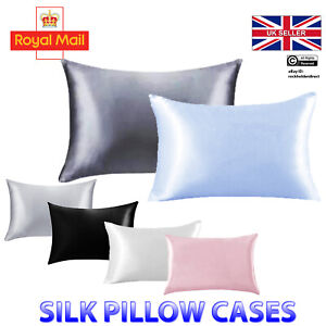 Soft Silky Pillowcase Pure Mulberry Satin Pillow Cases Cushion Cover Bed UK Home