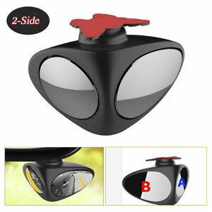 2-Side Car Blind Spot Convex Mirror 360° Adjustable Rear View Parking Mirror HD