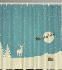 "SANTA CLAUS REINDEER SNOWY PRESENTS CHRISTMAS 70"" Fabric Bathroom Shower Curtain"