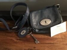 Fossil Maddox Dark Teal Blue Leather Magnetic Flap Shoulder Bag Crossbody