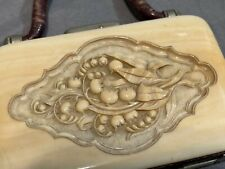 Antique French Dieppe 19th C Carved Coin Purse Lily of the Valley Flowers * Doll