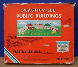 Vintage Plasticville PB-8 O Public Buildings Large Boxed Master Set 1955