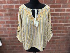 Women's Sweewe Paris Striped mustard & White Pullover Shirt - Small/medium