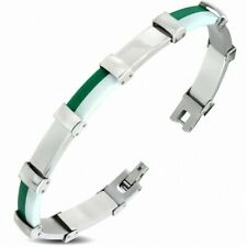 Bracelet with Link Panther Stainless Steel with Rubber Green and White