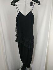 Vintage 1980's Roberta Black Ruffle Cocktail Dress