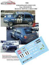 DECALS 1/43 REF 1592 VOLKSWAGEN GOLF GTI CHASSEUIL RALLYE MONTE CARLO 1985 RALLY