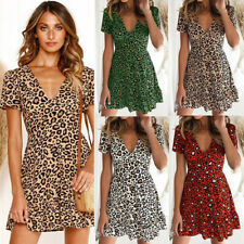 Women Summer Leopard Midi Dress V Neck Short Sleeve Skirt Casual A-line Dress