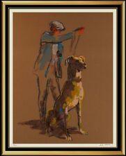 LeRoy NEIMAN Large Color Serigraph Hand Signed Great Dane Dog Artwork Painting