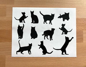 Cat /& kittens  playing with butterflies /& wool wall stickers mural decal
