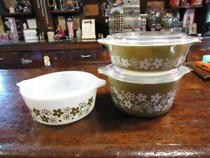 PYREX SPRING BLOSSOM Crazy Daisy Bowl Dish White Green Vintage SET # 471-472-473