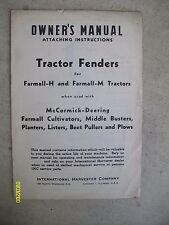 Vintage IH International Harvester Farmall-H, M Cultivator, Plow Tractor  Manual