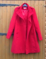 Wallis Vintage Smart Military Red Dolly Double Breasted Warm Coat Jacket Size 12