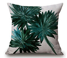 """Cushion cover Pillow case Green leaves Tropical Jungle foliage Plants 17"""" x 17"""""""