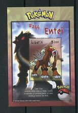 Liberia 2001 MNH Pokemon 1v S/S II #244 Entei  Nintendo CREATURES Stamps