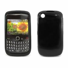 Black Slim Silicone TPU Gel Case Cover + Screen Protector for Blackberry 8520