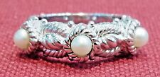 JUDITH RIPKA Sterling Silver Triple Cable Cultured Pearl Ring Size 5