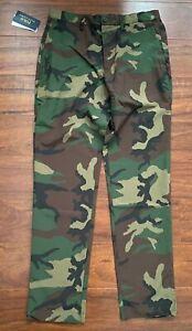 Polo Ralph Lauren Light Camo Pants 34 x 30 Green Straight Fit Zipper Pocket $125