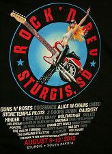 2010 Sturgis Rock N Rev Concert Guns & Roses Guitar Biker Black T-Shirt New Xxl