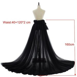 Women Tulle Skirt Long Mesh Dress Maxi Princess Wedding Party Prom Overskirt