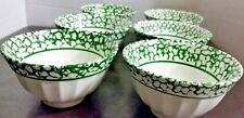 "Set of (6) Vintage Green Spongeware 6"" Bowls Made in Italy Flower Maker Marking"